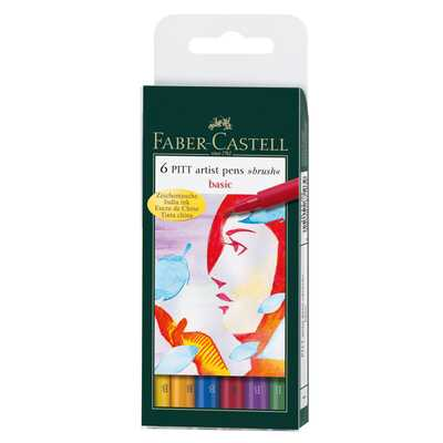 ZESTAW 6 PISAKÓW PITT ARTIST PEN BRUSH FABER-CASTELL (kolory podstawowe)