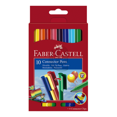 FLAMASTRY CONNECTOR FABER CASTELL, 10 KOLORÓW