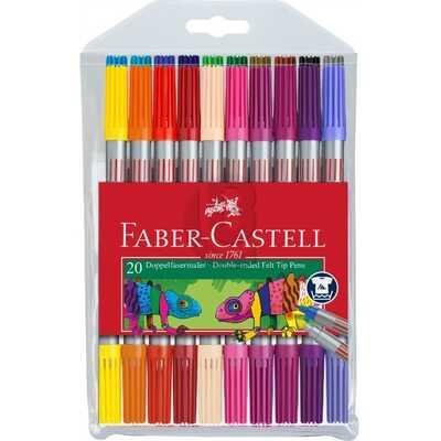 FLAMASTRY DWUSTRONNE FABER-CASTELL, 20 KOLORÓW