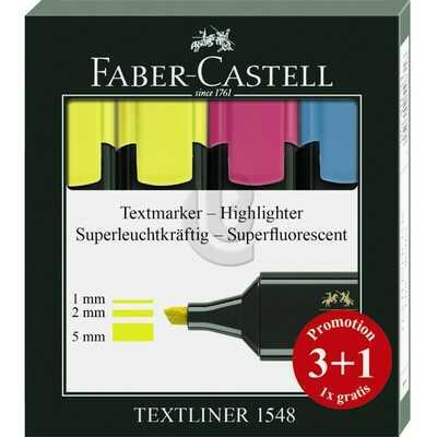 ZAKREŚLACZE TEXTLINER 3+1 SZT. ETUI PLASTIKOWE FABER-CASTELL