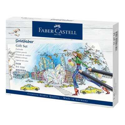 ZESTAW PREZENTOWY: KREDKI GOLDFABER FABER-CASTELL + AKCESORIA (21 ELEMENTÓW)