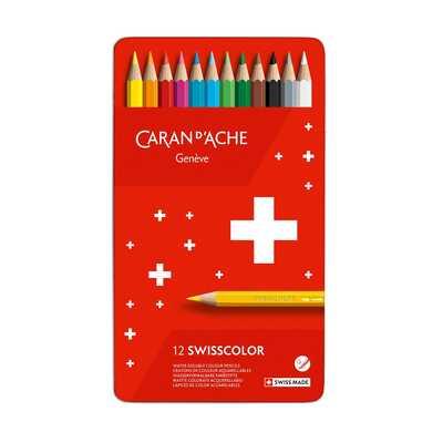 Kredki akwarelowe Swisscolor Caran d'Ache, 12 kolorów