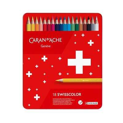 Kredki akwarelowe Swisscolor Caran d'Ache, 18 kolorów