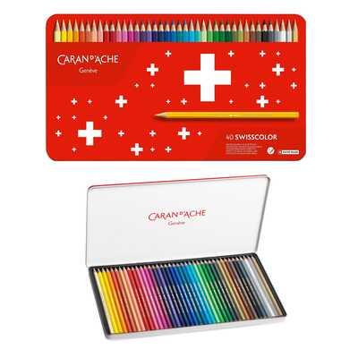 Kredki akwarelowe Swisscolor Caran d'Ache, 40 kolorów