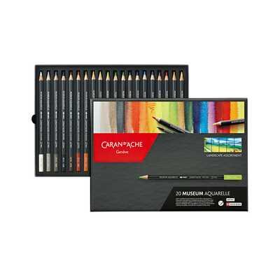Kredki akwarelowe Caran d'Ache Museum Aquarelle, 76 kolorów + 2 ołówki (1)