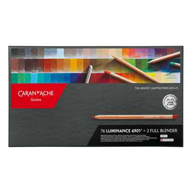 Kredki Caran d'Ache Luminance 6901, 76 kolorów + 2 kredki bledujące