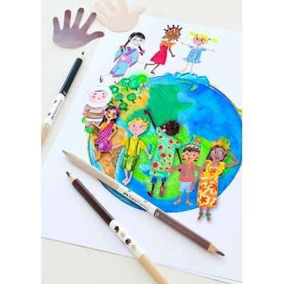 KREDKI TRÓJKĄTNE FABER-CASTELL EDYCJA CHILDREN OF THE WORLD, 12 KOLORÓW + 3 KREDKI DWUSTRONNE W KOLORACH SKÓRY