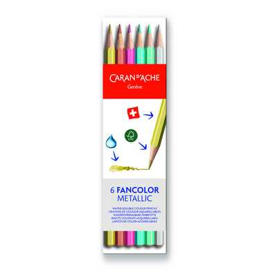 Kredki Fancolor Metallic Caran d'Ache, 6 kolorów
