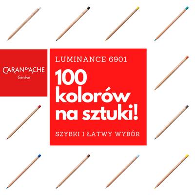 Kredki Luminance 6901 Caran d'Ache na sztuki - 100 kolorów (76 + 24 nowe)