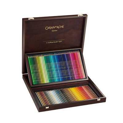 Kredki Supracolor Soft Caran d'Ache, 80 kolorów w drewnianej kasecie