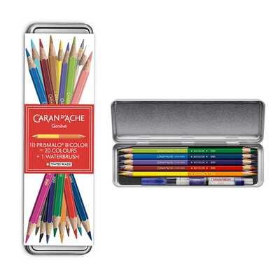Kredki akwarelowe Prismalo Aquarelle Bicolor Caran d'Ache, limitowana edycja upominkowa 10 dwustronnych kredek + pędzel