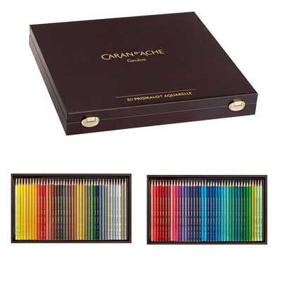 Kredki akwarelowe Prismalo Aquarelle Caran d'Ache, 80 kolorów w drewnianej kasecie