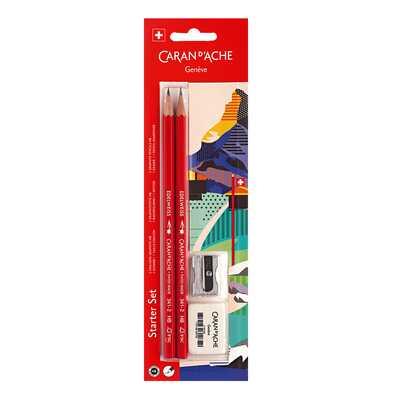 Szkolny zestaw Caran d'Ache: 2 ołówki Edelweiss HB + gumka i temperówka