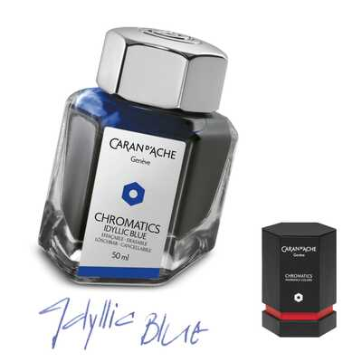 Atrament Chromatics Caran d'Ache, kolor Idyllic Blue (niebieski)