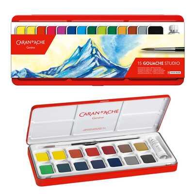 Farby Caran d'Ache Gouache Studio, 15 kolorów