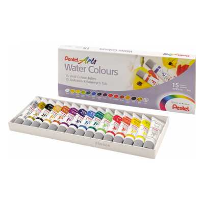 Farby akwarelowe w tubach Pentel, 15 kolorów