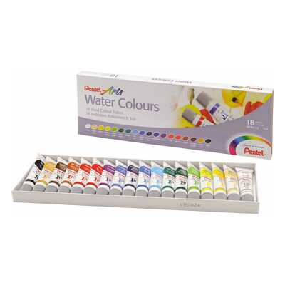 Farby akwarelowe w tubach Pentel, 18 kolorów