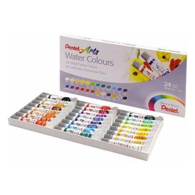 Farby akwarelowe w tubach Pentel, 24 kolory