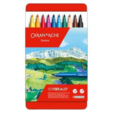 Flamastry Caran d'Ache Fibralo, 10 kolorów