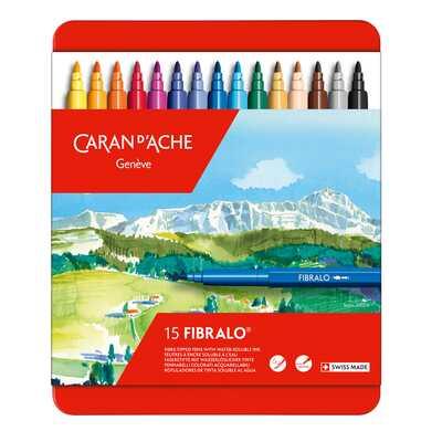 Flamastry Caran d'Ache Fibralo, 15 kolorów