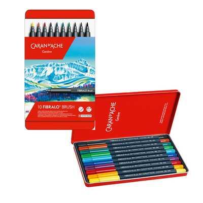 Flamastry Caran d'Ache Fibralo Brush, 10 kolorów