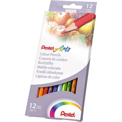 Kredki ołówkowe Pentel, 12 kolorów