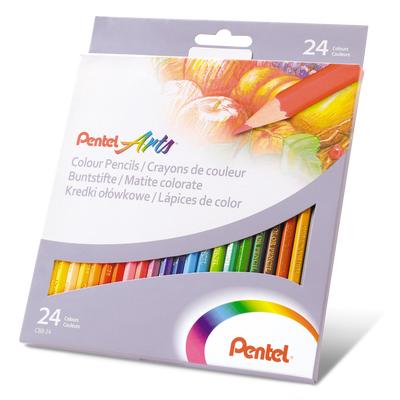 Kredki ołówkowe Pentel, 24 kolory