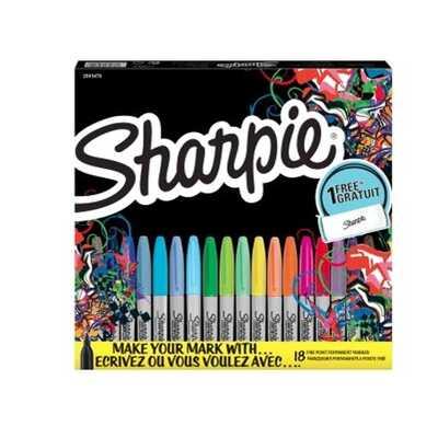 Markery permanentne Sharpie, 18 kolorów + 6 piórnik do pokolorowania