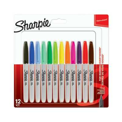 Markery permanentne Sharpie Fine, 12 kolorów