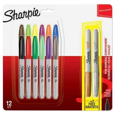 Markery permanentne Sharpie Fine, 12 kolorów + 2 metaliczne