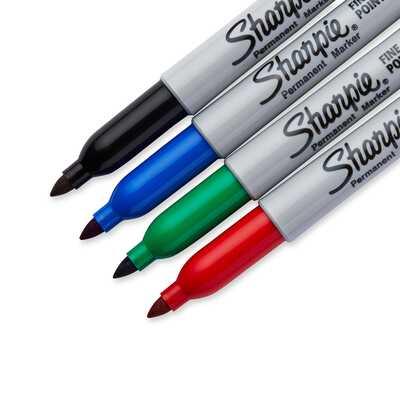 Markery permanentne Sharpie Fine, 4 kolory - czarny, niebieski, czerwony, zielony