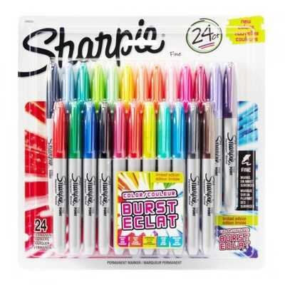 Markery permanentne Sharpie Fine Color Burst, 24 kolory