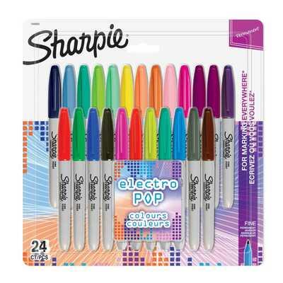 Markery permanentne Sharpie Fine Electro Pop, 24 kolory
