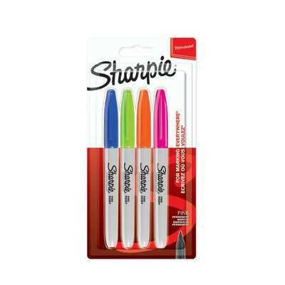 Markery permanentne Sharpie Fine Fun, 4 kolory