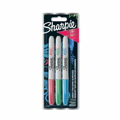 Markery permanentne Sharpie Metallic, 3 kolory: czerwony, niebieski, zielony