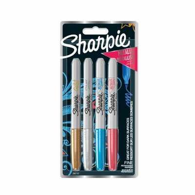 Markery permanentne Sharpie Metallic, 4 kolory: czerwony, niebieski, zielony, złoty