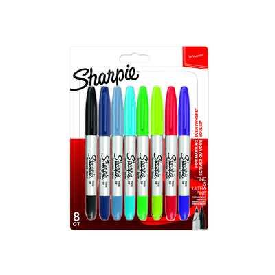 Markery permanentne Sharpie Twin Tip, 8 kolorów