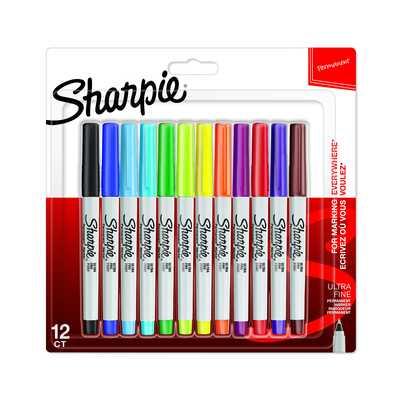 Markery permanentne Sharpie Ultra Fine, 12 kolorów