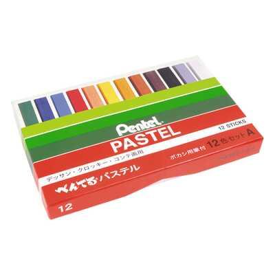 Pastele suche Pentel: 12 kolorów + wiszer