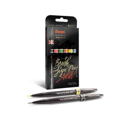 Zestaw 6 pędzelków Pentel do kaligrafii: czarny, czerwony, zielony, pomarańczowy, żółty, błękitny
