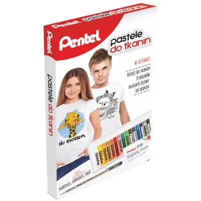 Zestaw kreatywny Pentel: 15 pasteli do tkanin, długopis, szablony i koszulka