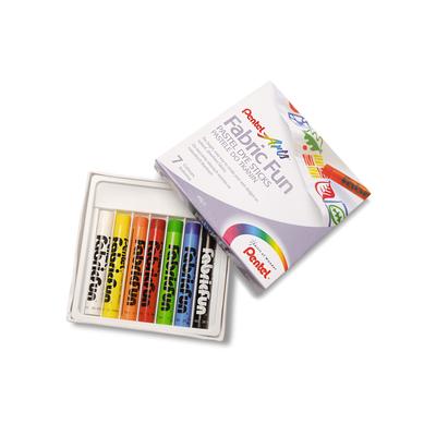 Zestaw kreatywny Pentel: 7 pasteli do tkanin, długopis, torba i szablony