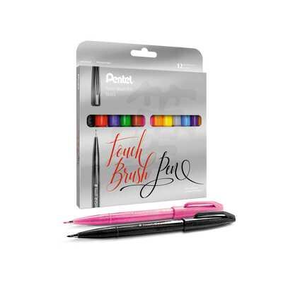 Zestaw pisaków pędzelkowych do kaligrafii i liternictwa Pentel,12 kolorów