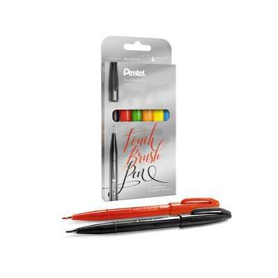 Zestaw pisaków pędzelkowych do kaligrafii i liternictwa Pentel, 6 kolorów
