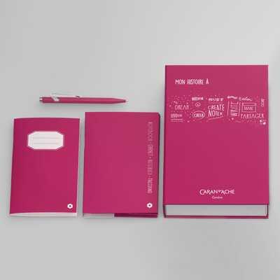 Zestaw upominkowy Caran d'Ache: długopis 849 + notatnik w kolorze różowym