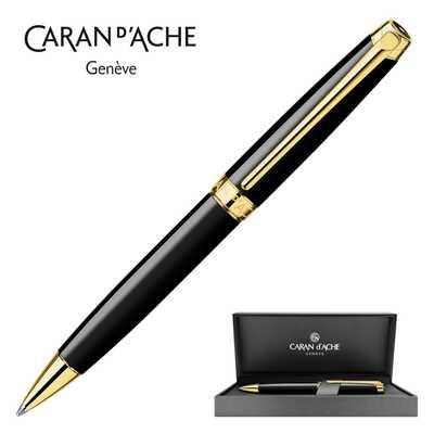 Długopis Caran d'Ache Leman Ebony Black, pozłacany