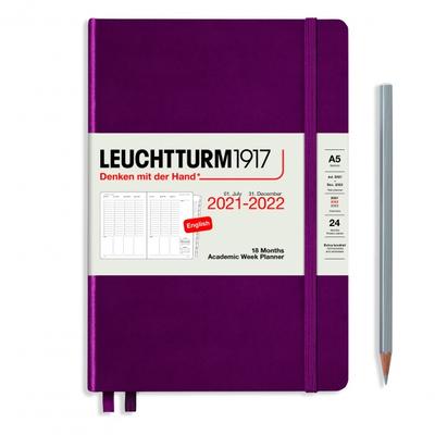 PLANER TYGODNIOWY AKADEMICKI LEUCHTTURM1917 MEDIUM (A5) 2021/2022, 18 MIESIĘCY, BORDOWY