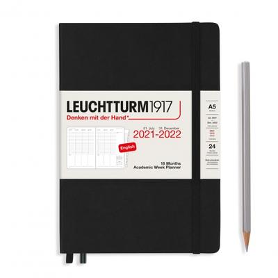 PLANER TYGODNIOWY AKADEMICKI LEUCHTTURM1917 MEDIUM (A5) 2021/2022, 18 MIESIĘCY, CZARNY