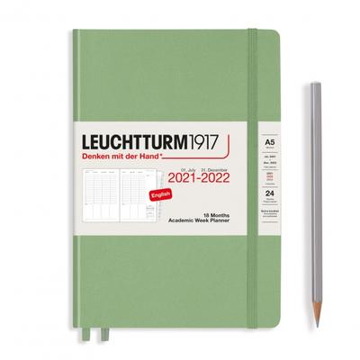 PLANER TYGODNIOWY AKADEMICKI LEUCHTTURM1917 MEDIUM (A5) 2021/2022, 18 MIESIĘCY, SAGE (SZAŁWIOWY)